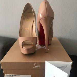50878d5e0bac Christian Louboutin Shoes - Christian Louboutin Lady Peep Nude Heels